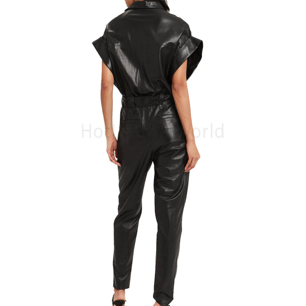 Dolman Sleeves Women Leather Jumpsuit -  HOTLEATHERWORLD