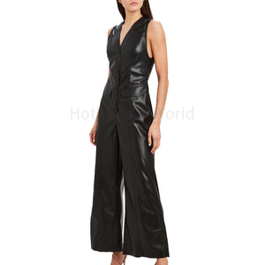 Front Snap Closures Women Leather Jumpsuit -  HOTLEATHERWORLD