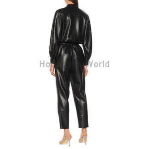 Corporate Style Women Leather Jumpsuit -  HOTLEATHERWORLD