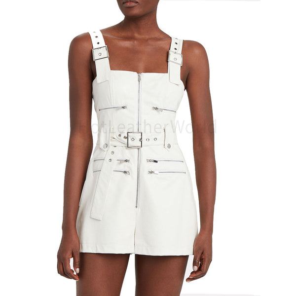 Adjustable Buckle Straps White Leather Jumpsuit -  HOTLEATHERWORLD