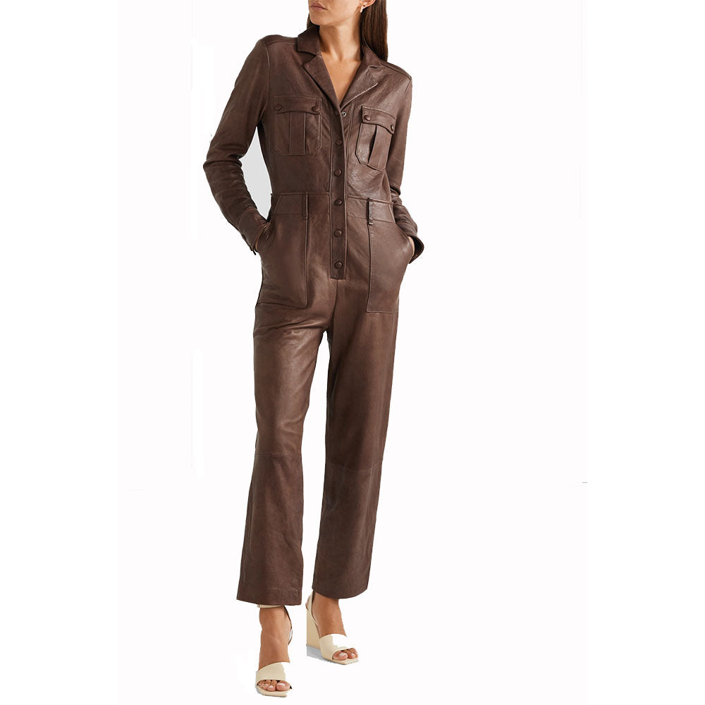Leather Jumpsuit For Women With Classic Look -  HOTLEATHERWORLD