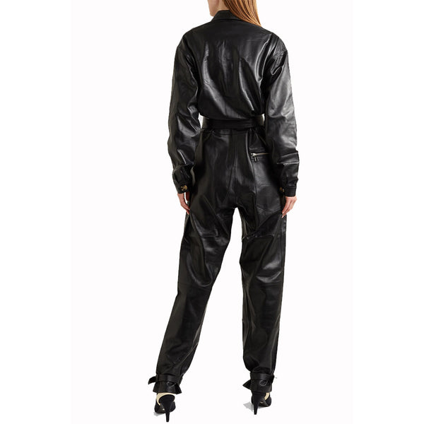 Classic Collar Zipper Detailing Women  Leather Jumpsuit -  HOTLEATHERWORLD