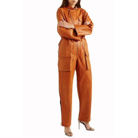 Cargo Pockets Detailing Women Leather Jumpsuit -  HOTLEATHERWORLD