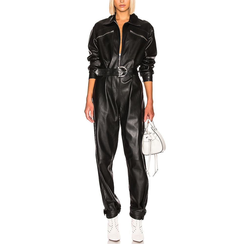 Unique Trendy Women Leather Jumpsuit -  HOTLEATHERWORLD