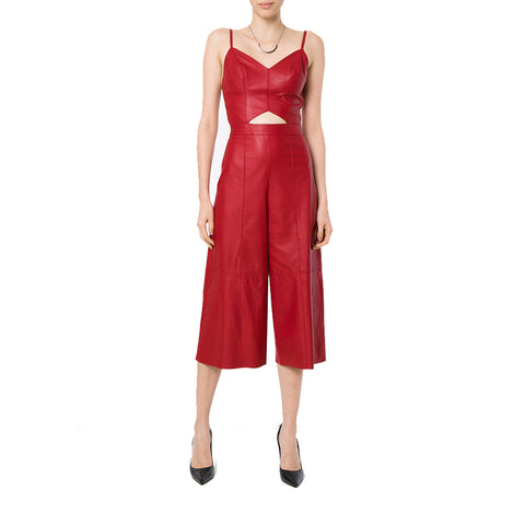 ff1d9a90000 Two Piece Styled Paneled Women Leather Jumpsuit - HOTLEATHERWORLD