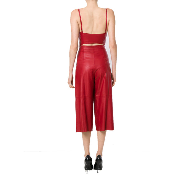 Two Piece Styled Paneled Women Leather Jumpsuit -  HOTLEATHERWORLD