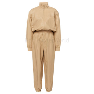 High Collar Classic Women Leather Jumpsuit -  HOTLEATHERWORLD