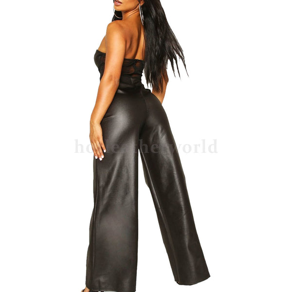 Mesh Corset Women Leather Jumpsuit -  HOTLEATHERWORLD
