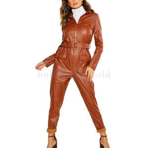 Crocodile Embossed Belted Pocket Leather Jumpsuit for Women