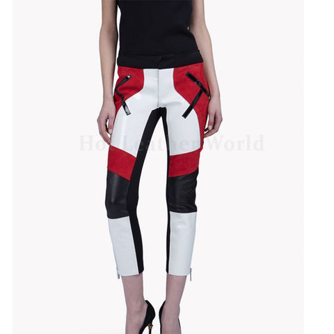 Color Block Women Leather Capri Pant