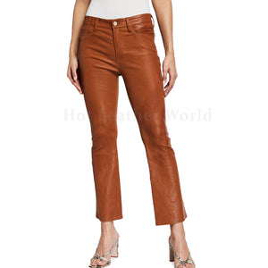 Crop Slim Fit Women Leather Pants