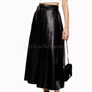 Crocodile Embossed Leather Midi Skirt -  HOTLEATHERWORLD