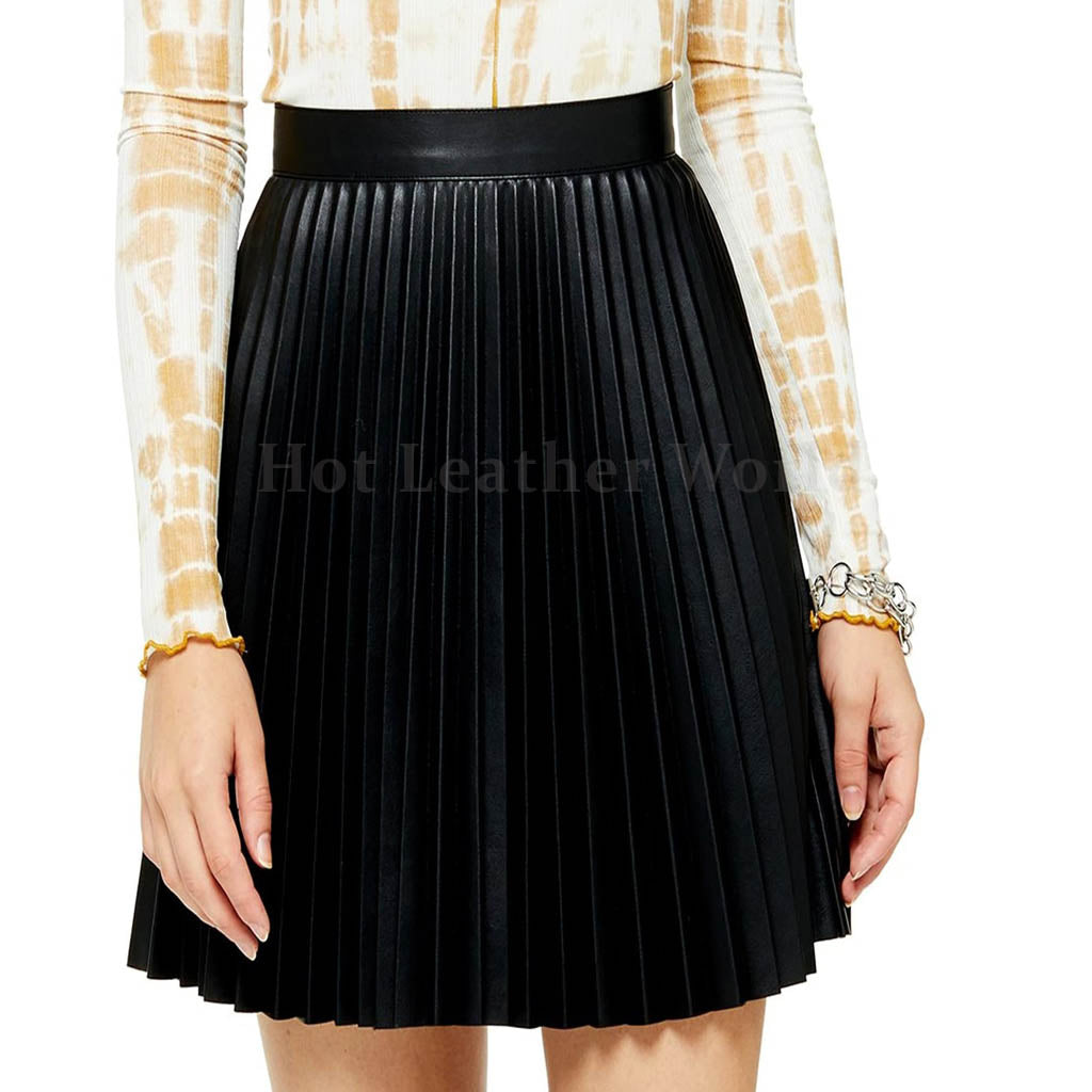Pleated Faux Leather Miniskirt -  HOTLEATHERWORLD