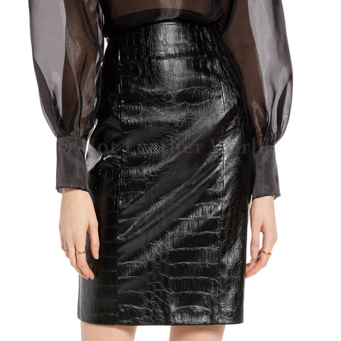 Croc Embossed Genuine Leather Miniskirt -  HOTLEATHERWORLD