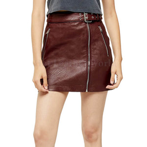 Front Zipper Women Leather Mini Skirt -  HOTLEATHERWORLD