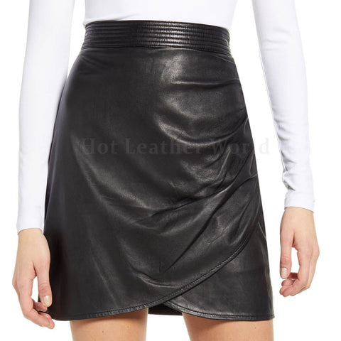 Ruched Side Genuine Leather Miniskirt -  HOTLEATHERWORLD