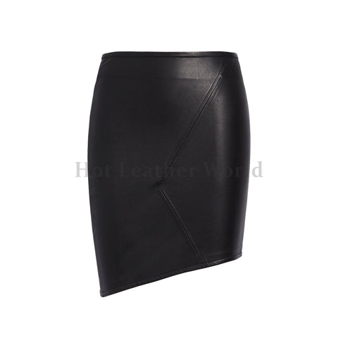 Party Style Asymmetrical Leather Skirt For Women