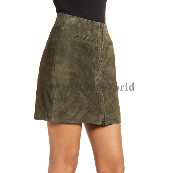 Front Zipper Closure Suede Leather Skirt