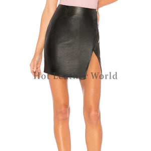 Front Slit Hot Mini Leather Skirt