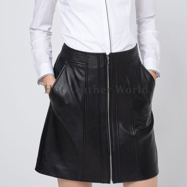 Center-Front Zip  A-Line Leather Skirt