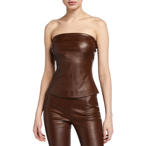 Strapless Hot Metallic Leather Top -  HOTLEATHERWORLD