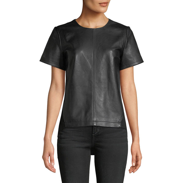 Elegant Daytime Women Leather T-Shirt Top -  HOTLEATHERWORLD