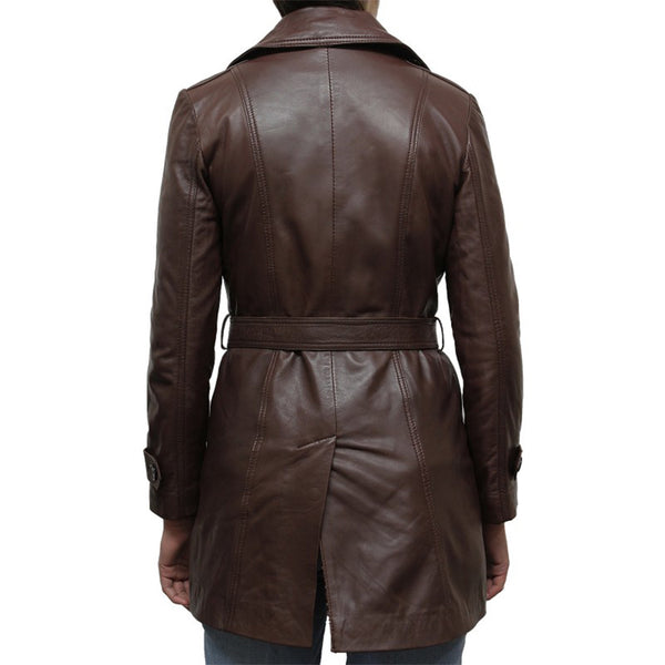 Belted Waist Women Leather Coat