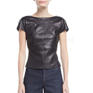 Cap Sleeves Backless Women Leather Top