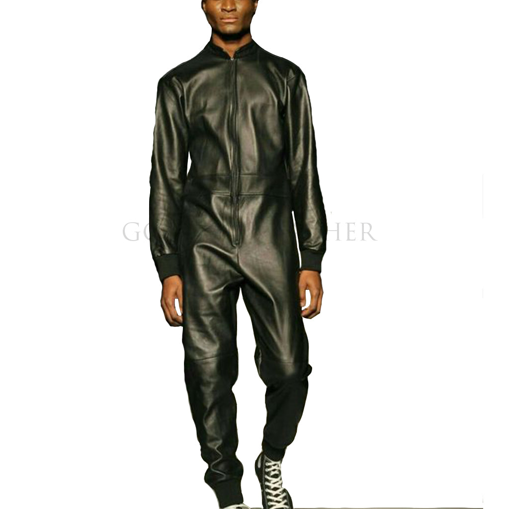 Ribbed Biker Men Leather Jumpsuit
