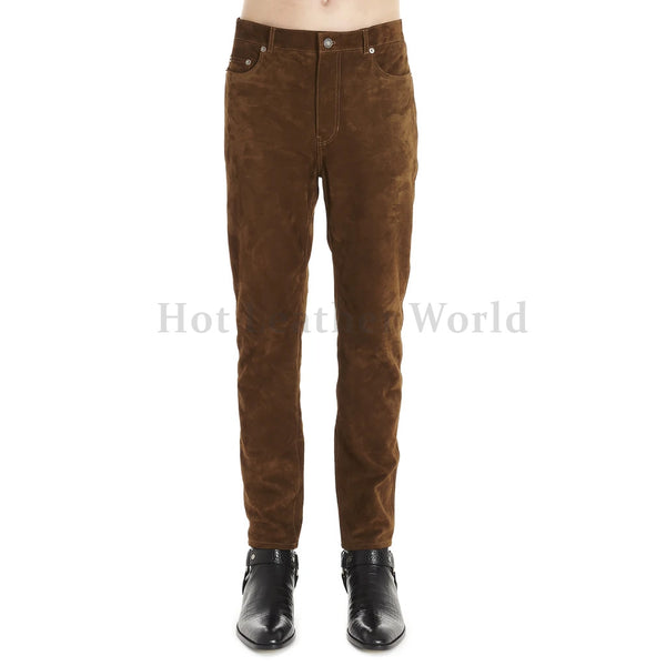 Five Pocket Style Men Suede Leather Pants