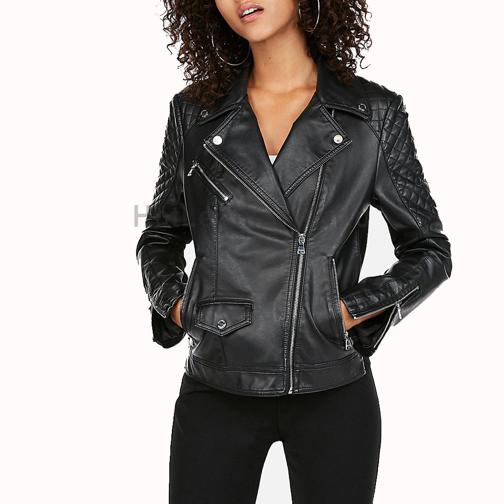 Quilted Sleeves Women Leather Moto Jacket -  HOTLEATHERWORLD