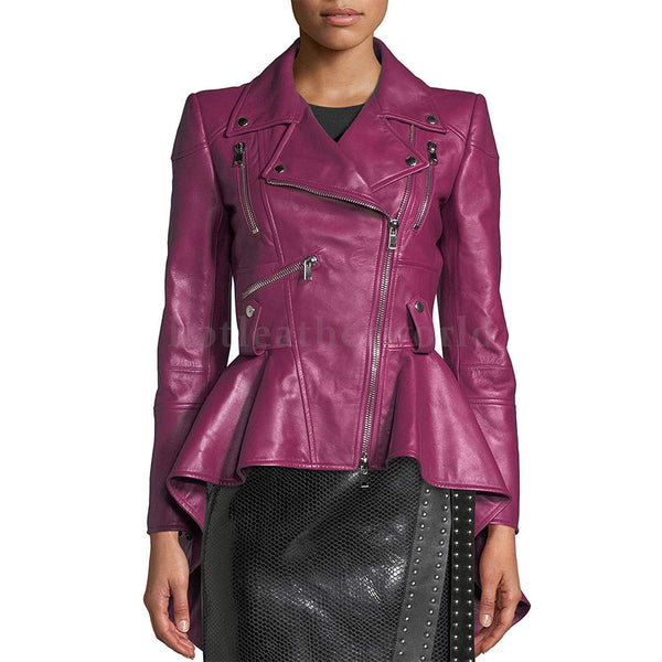 Designer Styled Peplum Women Leather Jacket