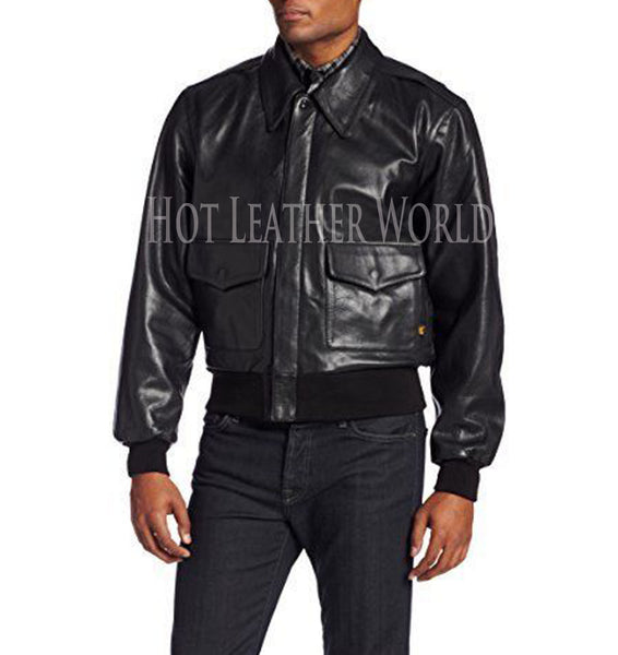 Leather Military Flight Jacket -  HOTLEATHERWORLD