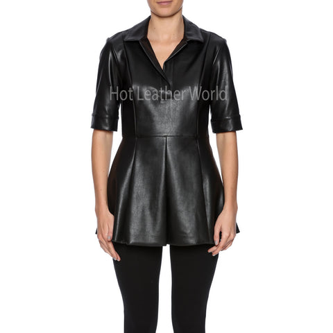 Faux Leather Peplum Top -  HOTLEATHERWORLD