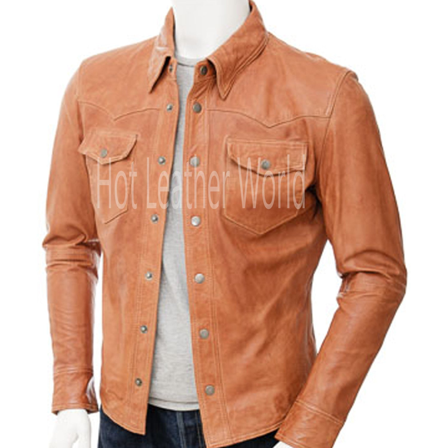 Mens Tan Leather Blazer -  HOTLEATHERWORLD