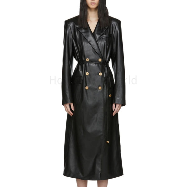 Double Breasted Women Leather Trench Coat -  HOTLEATHERWORLD
