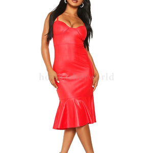 Frill Hem Midi Red Leather Dress -  HOTLEATHERWORLD