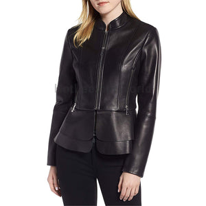 Classic Peplum Women Leather Jacket -  HOTLEATHERWORLD