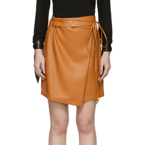 Self-Tie Belt Women Mini Leather Skirt -  HOTLEATHERWORLD