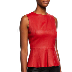 Red Sleeveless Peplum Leather Top For Women -  HOTLEATHERWORLD