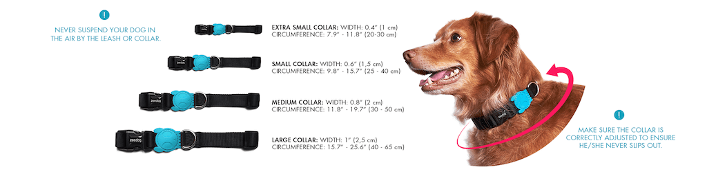 Zee.Dog Milky Dog Collar Sizes