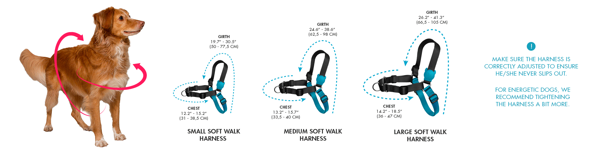 Zee.Dog Soft-Walk Harness Size Chart