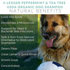 4-Legger USDA Certified Organic Cooling Dog Shampoo | Tea Tree & Peppermint - Vanillapup Online Pet Store