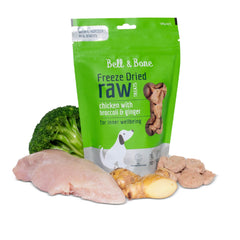 Bell & Bone Freeze Dried Dog Treats | Chicken, Broccoli & Ginger (100g) - Vanillapup Online Pet Store
