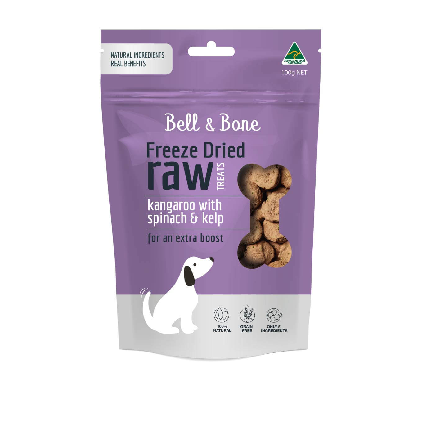 Bell & Bone Freeze Dried Dog Treats | Kangaroo, Spinach & Kelp (100g) - 20, Bell&Bone, Dogs, Starter Pack, Treats - Vanillapup - Online Pet Shop