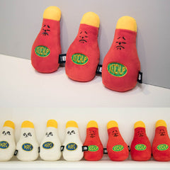 Bite Me Ketchup and Mayo Squeaky Plush Toys - Vanillapup Online Pet Store