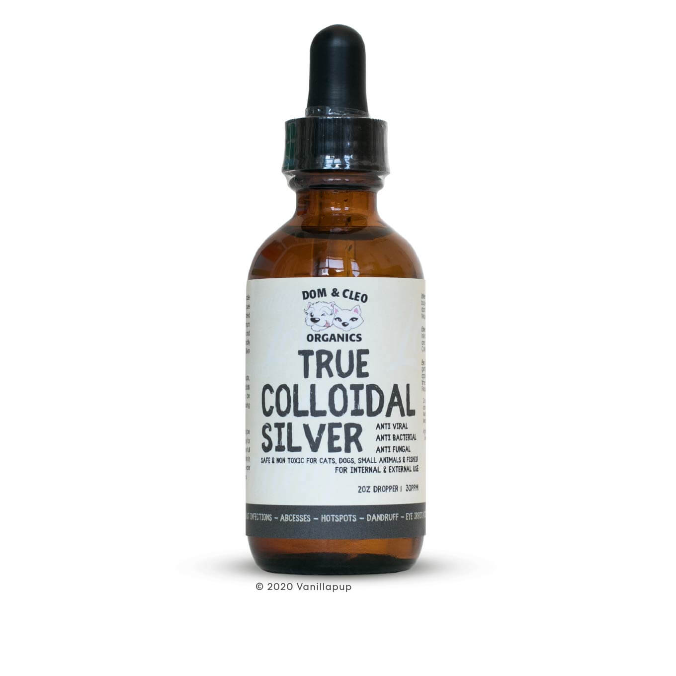 Dom & Cleo Organics True Colloidal Silver Dropper (2oz/60ml) - Cats, Dogs, Dom & Cleo Organics, First Aid, Grooming Essentials, Health, Hot Spots, Latte, Paw Licking, Skin, Starter Pack, Supplements, Tear Stains, Vision - Vanillapup - Online Pet Shop