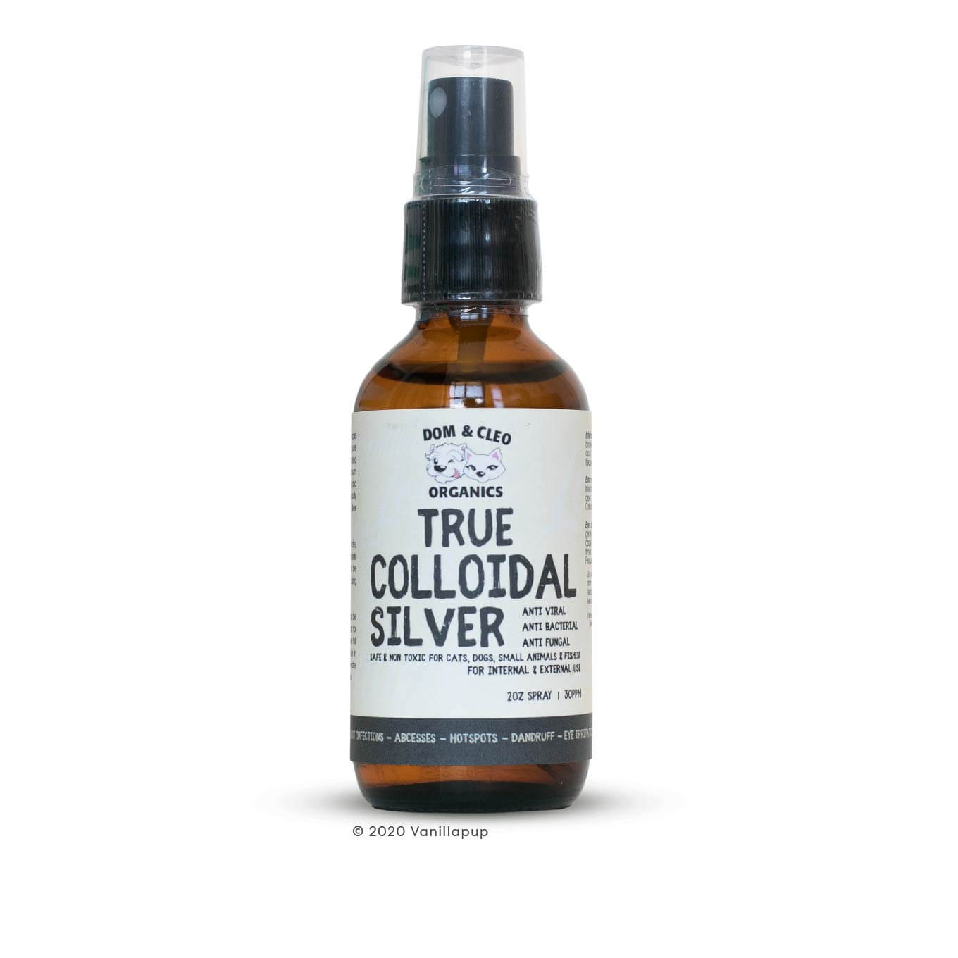 Dom & Cleo Organics True Colloidal Silver Spray (2oz/60ml) - Cats, Dogs, Dom & Cleo Organics, First Aid, Grooming Essentials, Health, Hot Spots, Latte, Paw Licking, Skin, Supplements, Tear Stains, Vision - Vanillapup - Online Pet Shop