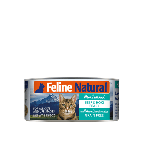Feline Natural Beef and Hoki Feast Canned Cat Food 85g