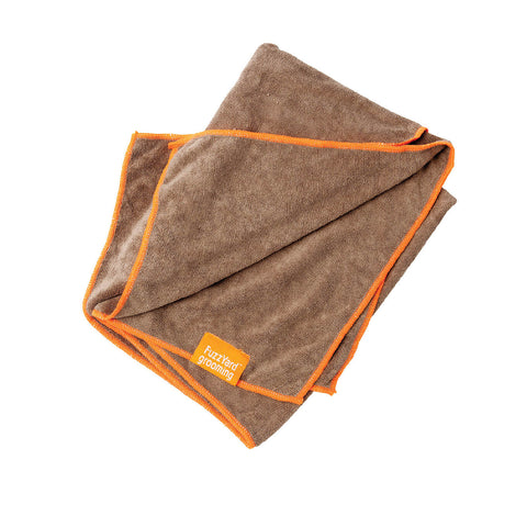 FuzzYard Microfibre Towel Brown With Orange Trim - Cats, Dogs, FuzzYard, Grooming Essentials - Shop Vanillapup